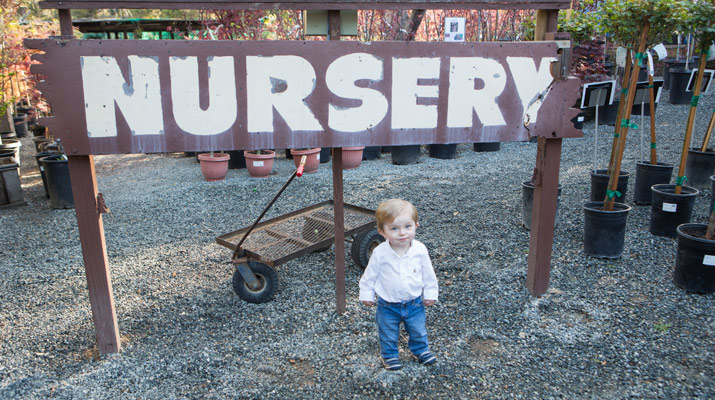 a boy in front of the nursery sign at carlmont village shopping center